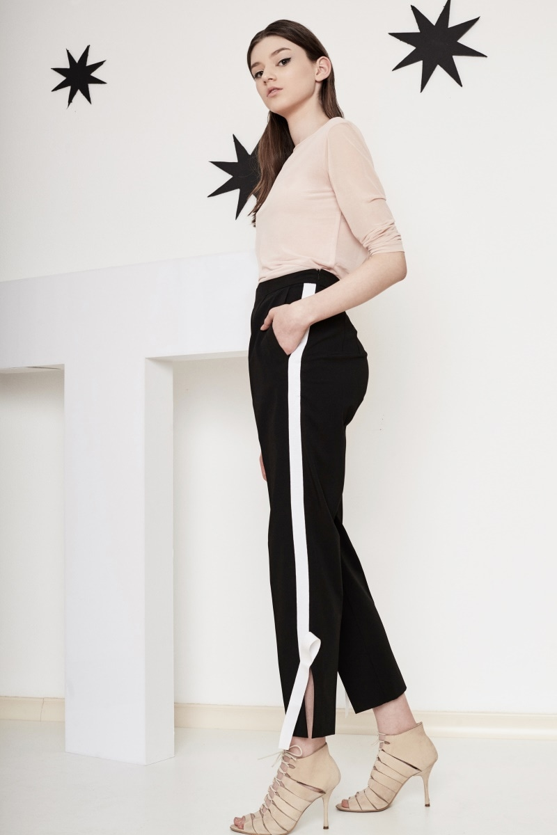 Knotted side stripe trousers
