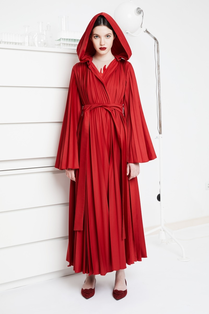 Red Jasper pleated robe dress with detachable hood