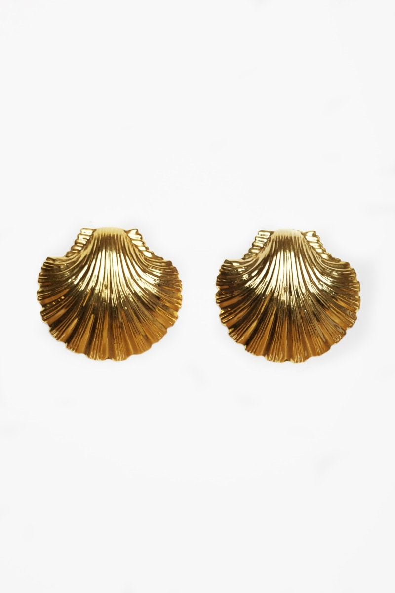 Gold clam shell earings
