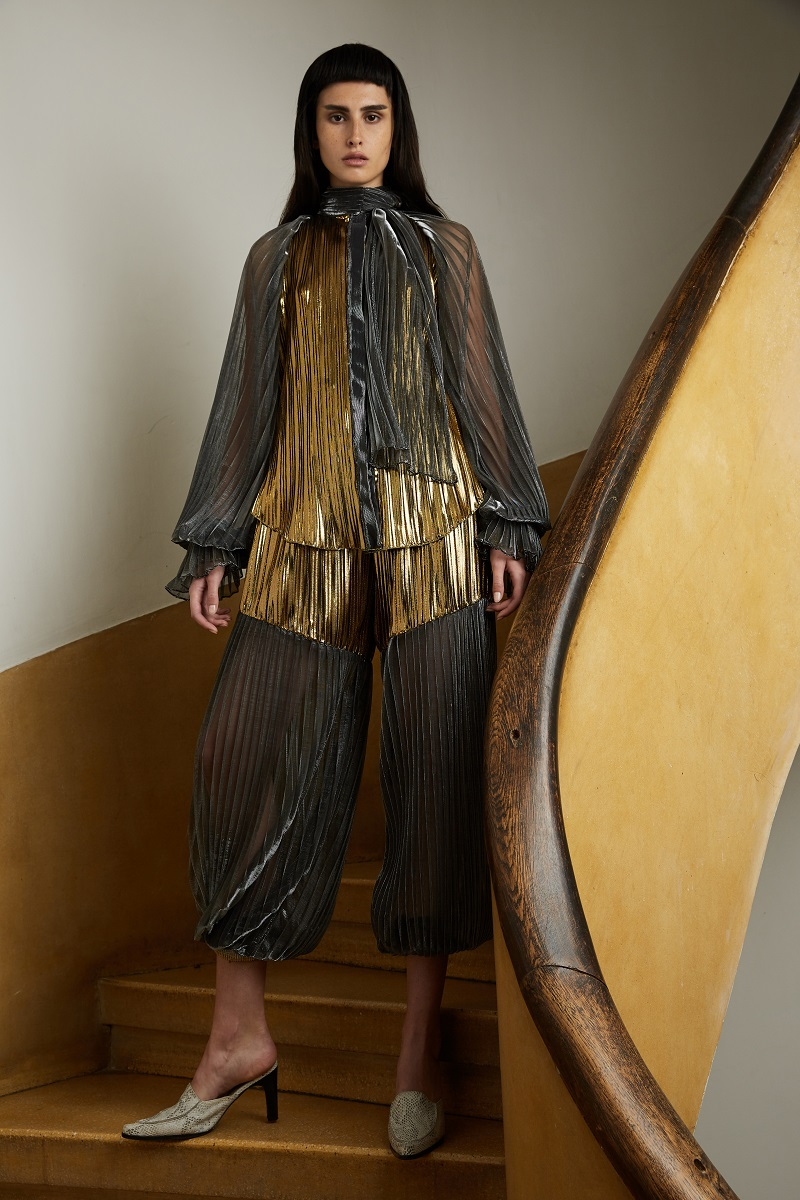 'Magic armour' pleated shirt with attached scarf detail