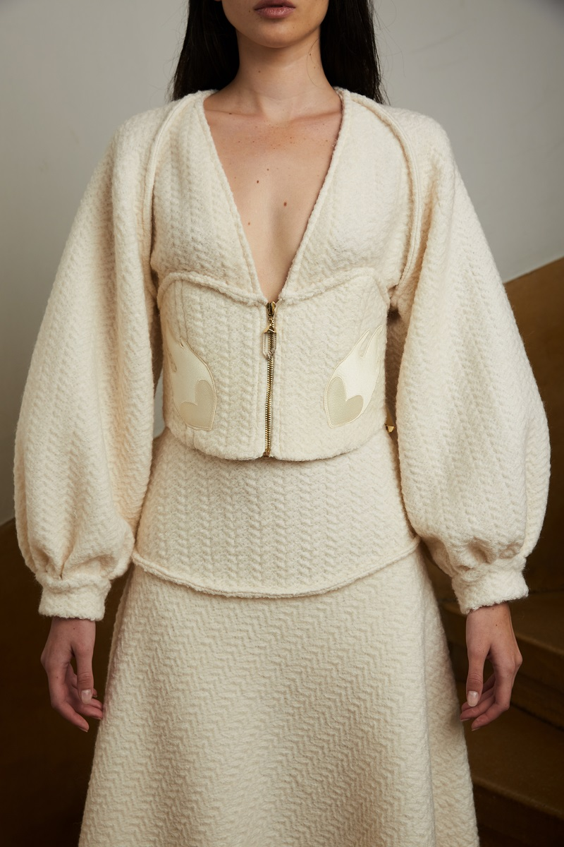 'Love powder' wool blouse with incorporated corset and embroidery