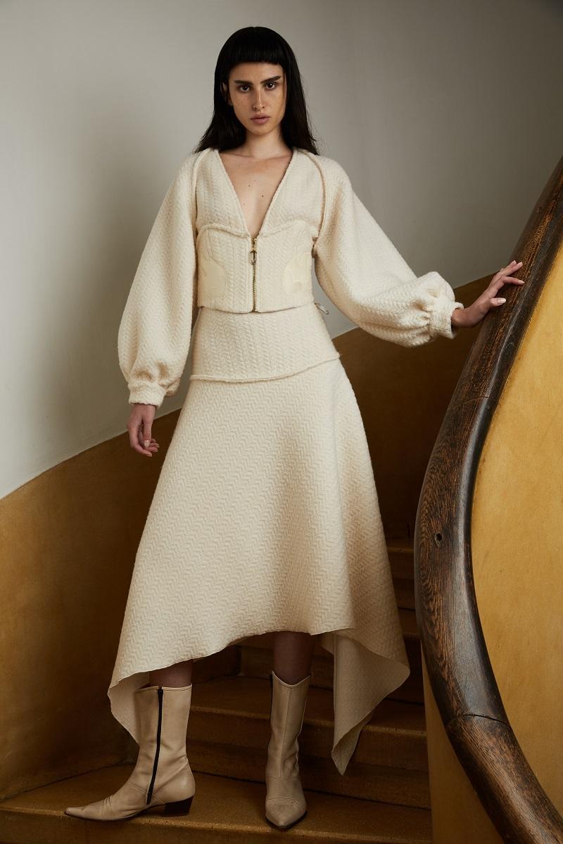 'Love powder' wool skirt