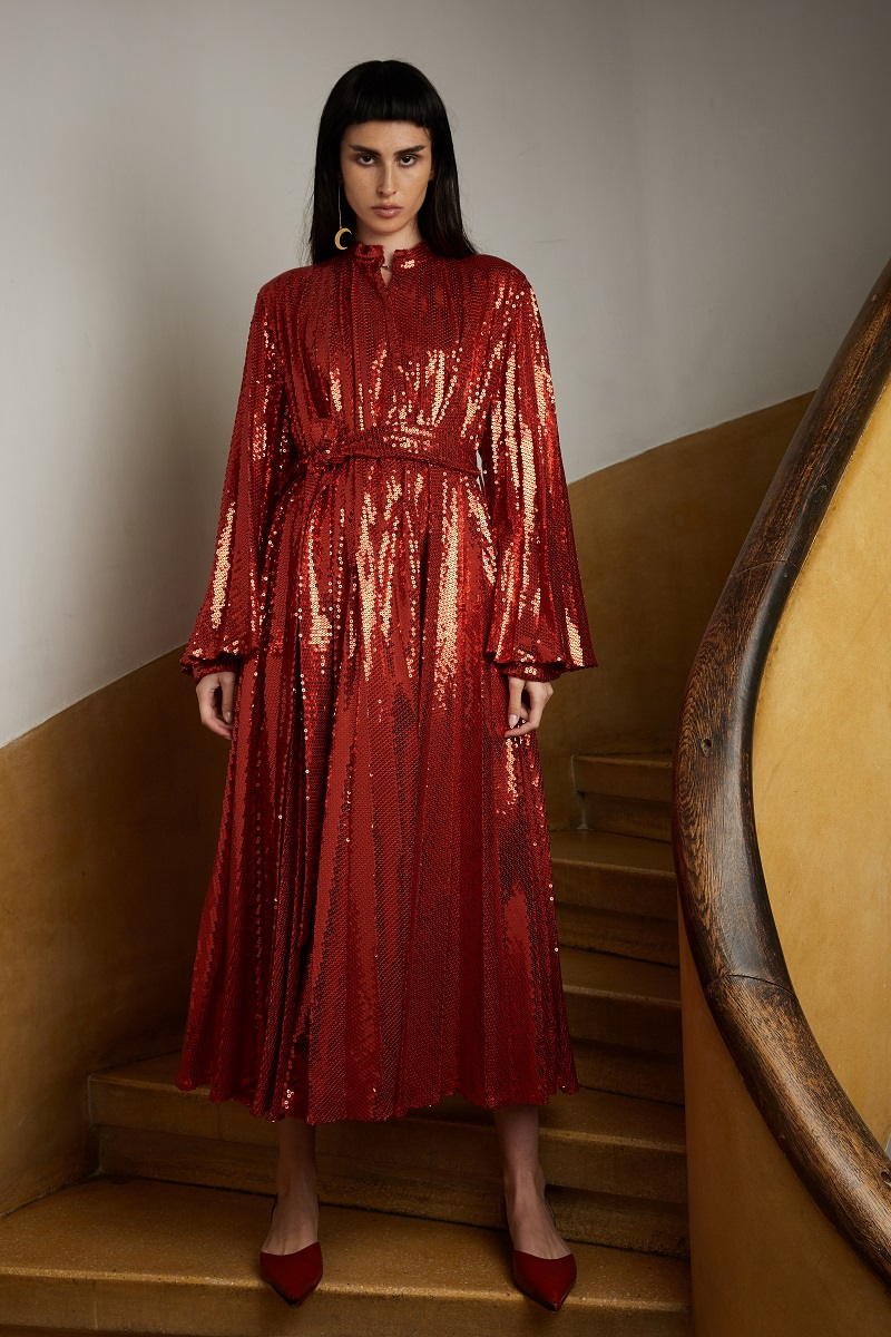 'Lunar' pleated sequin trenchcoat-dress with detachable hood