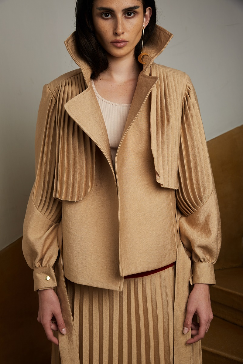 'Sundown' jacket with pleated details