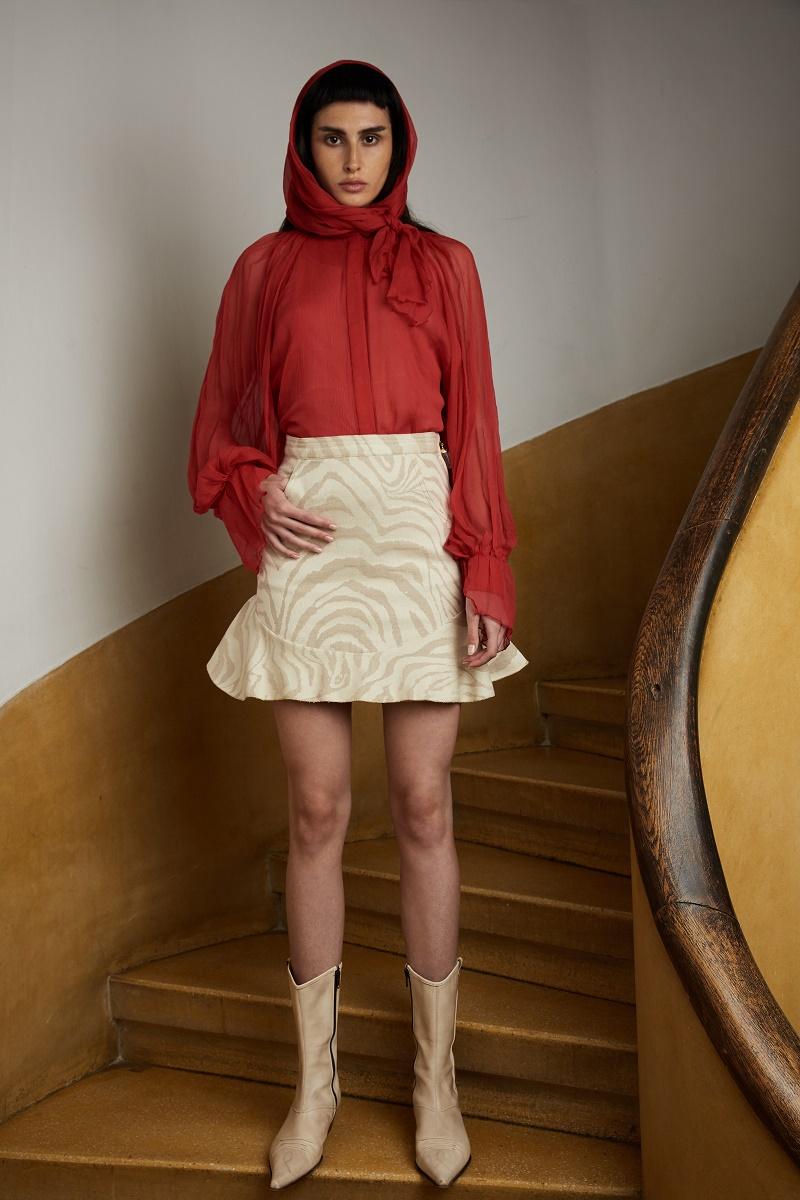 'Tigress' animal print ruffle mini-skirt with quartz crystal zipper detail