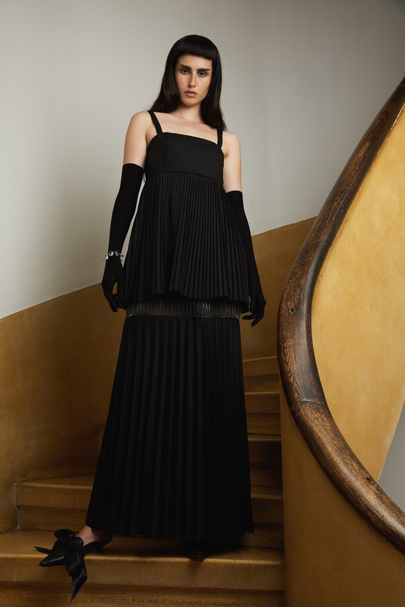 'Nightfall' pleated dress with see-through insertion
