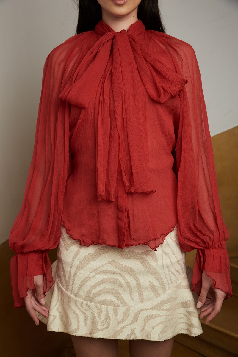 'LRRH' silk-chiffon shirt with attached scarf detail