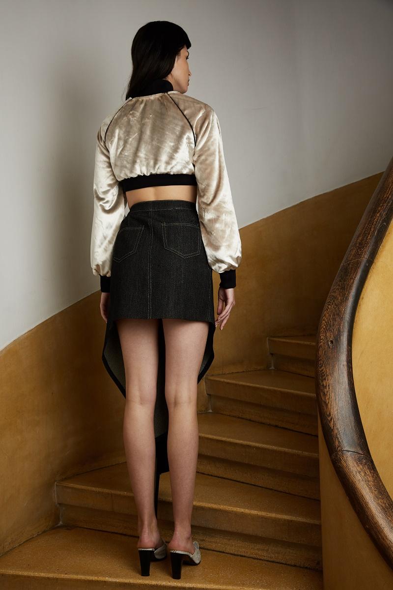 'Bittersweet' draped denim skirt with quartz crystal zipper detail