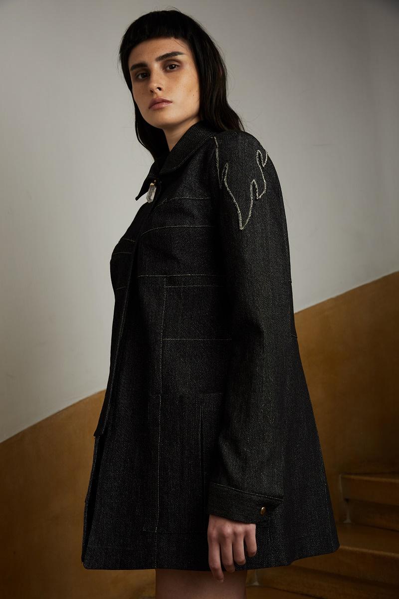 'Firestarter' oversized denim jacket with quartz crystal zipper detail