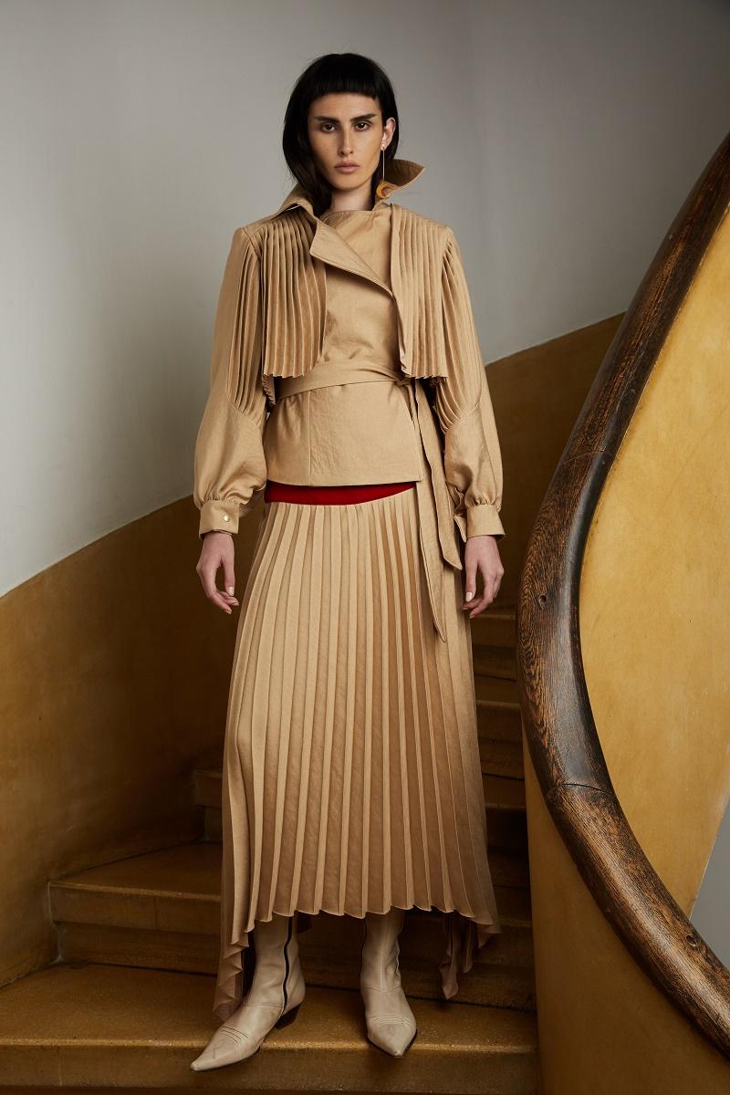 'Sundown' pleated skirt with red velvet insertion