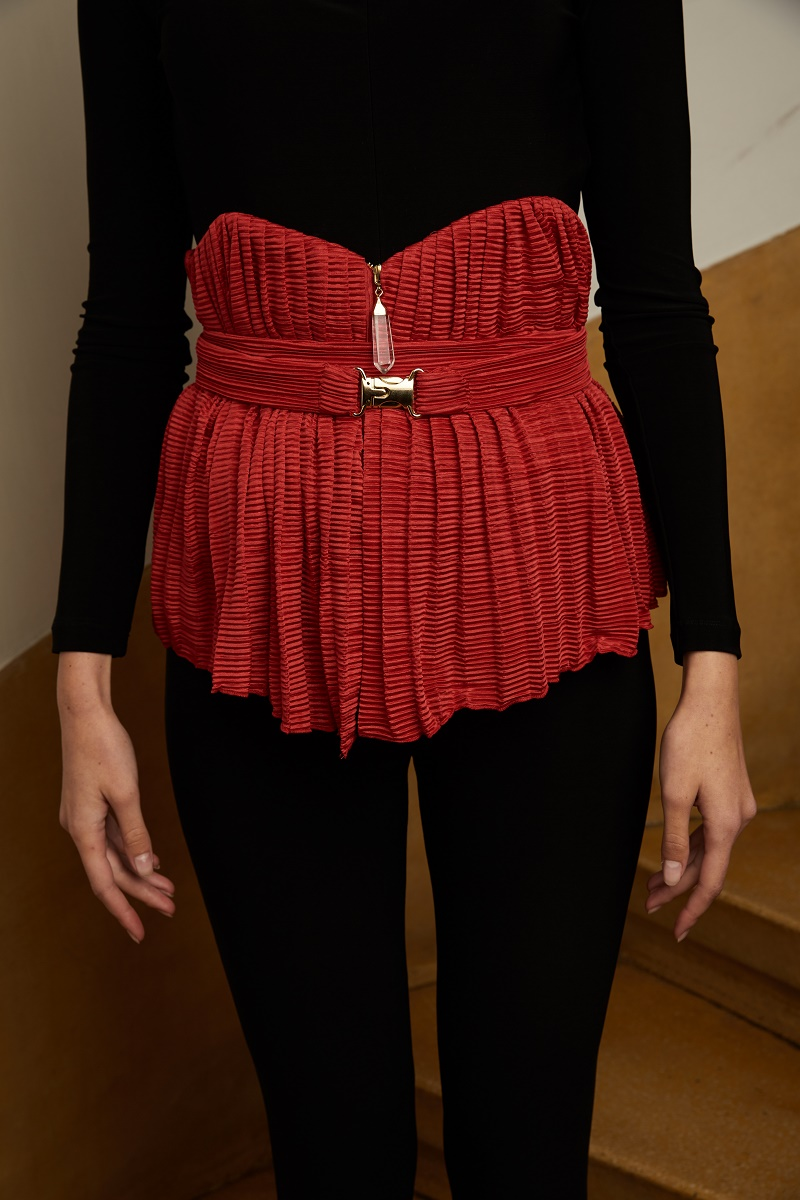 'Harpya' pleated corset with quartz crystal detail and belt