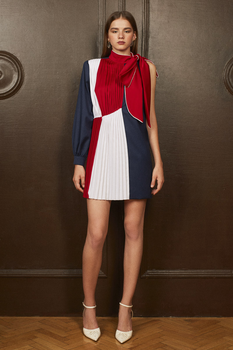 VEGA color-block top/dress with bow detail