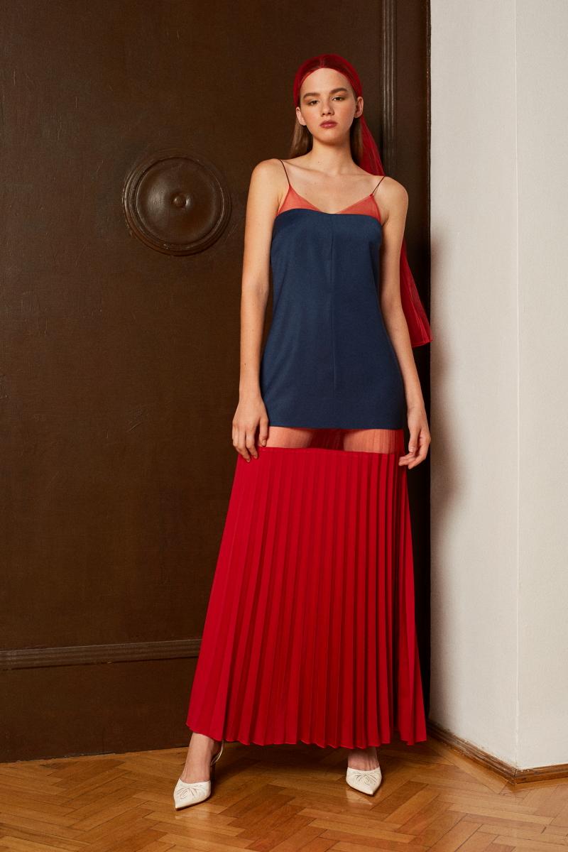 NEBULA color-block slip dress