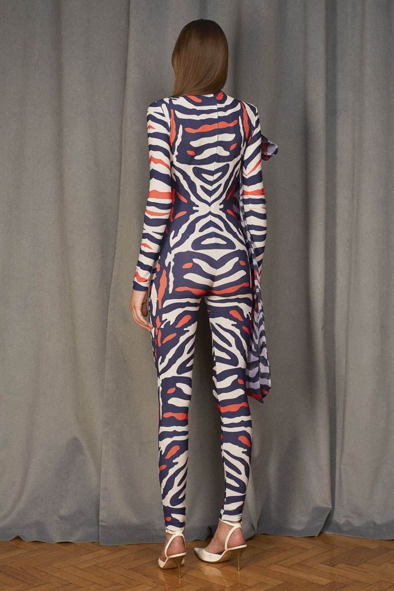 ORBITAL digital printed catsuit with organza bow detail