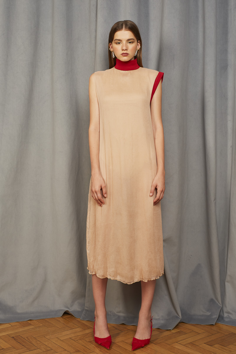 INVISIBLE silk chiffon dress