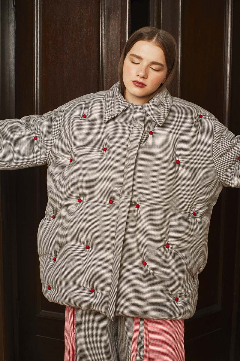 SKY MAP oversized puffer jacket
