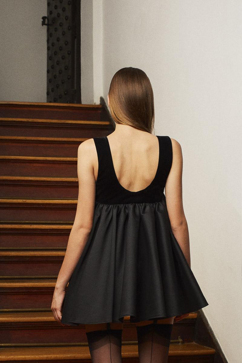 BLACK MOON babydoll dress with velvet corset