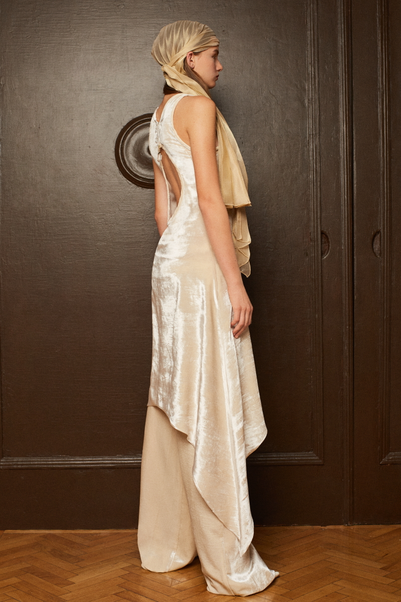 GAMMA RAY velvet silk dress with incorporated quartz crystals