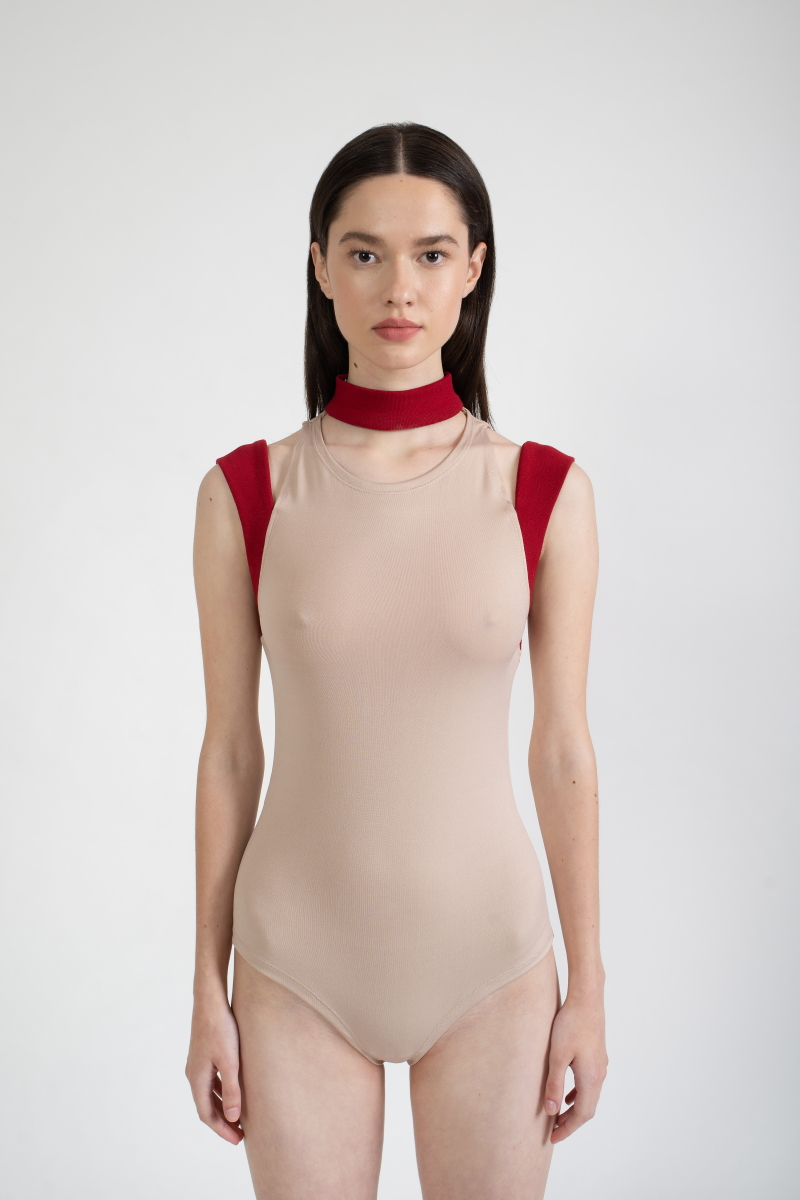 GHOSTING bodysuit with ribbed detail